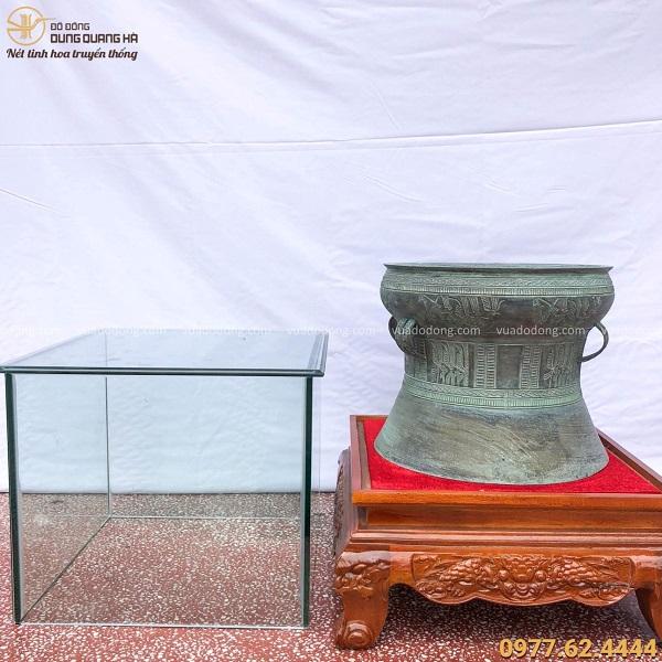 Quả trống đồng Đông Sơn đường kính 40cm hun giả cổ tinh xảo