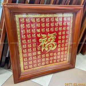 Tranh chữ bách phúc vuông 70cm khung gỗ trơn mạ vàng 24k