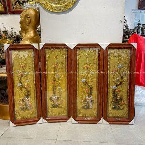 Tranh Tứ Quý đồng vàng làm màu giả cổ 1m x 40cm khung giả gỗ