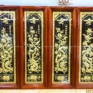Tranh Tứ Quý đồng vàng nền đen thếp vàng khung gỗ 1m2 x 40cm