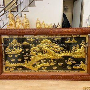 Tranh Văn Vương Cầu Hiền thếp vàng Khung gỗ gụ đục tinh xảo