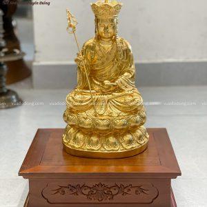 Tượng Bồ Tát Địa Tạng tôn nghiêm bằng đồng dát vàng cao 30cm