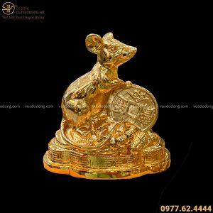 Tượng Chuột phong thủy ôm tiền để ô tô cao 12 cm mạ vàng 24k
