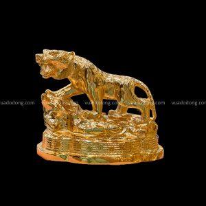 Tượng Hổ thịnh vượng bằng đồng mạ vàng đặt xe ô tô cao 10cm